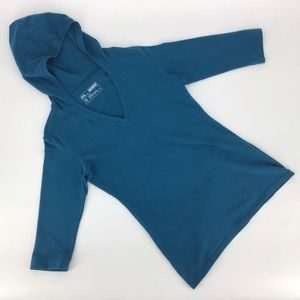 FIG Clothing Turquoise Hooded 3/4 Sleeve Shirt, L